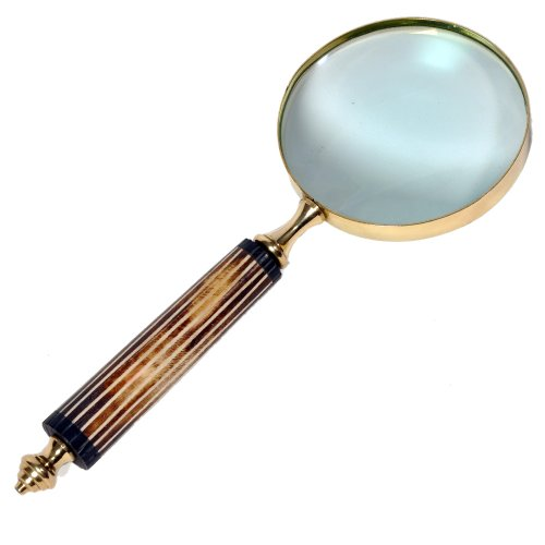 Little India Functional Real Brass Antique Magnifying Glass (10.16 cm x 27.94 cm,HCF350)