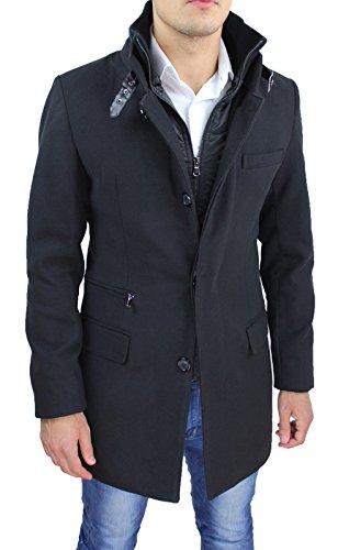 Cappotto giaccone uomo nero Sartoriale invernale slim fit soprabito elegante con gilet interno (L)