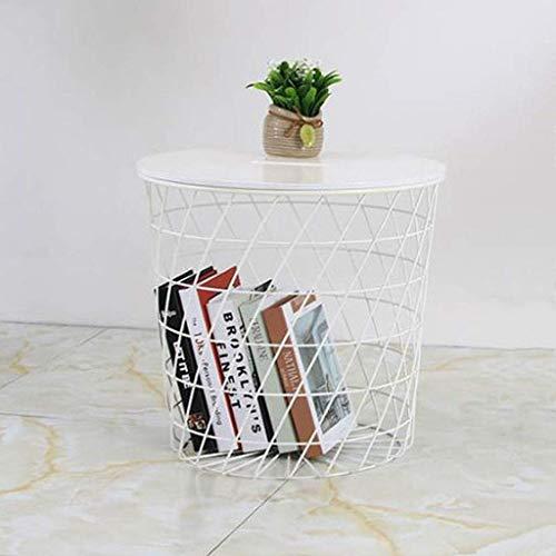 ACZZ Tavolino da salotto, tavolino da caffè in linearace di ferro battuto, tavolino da lettura per...