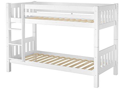 Erst-Holz® Schönes Stockbett Kiefer Massivholz weiß 90x200cm Kinderzimmer Etagenbett + Rollrost 60.06-09W
