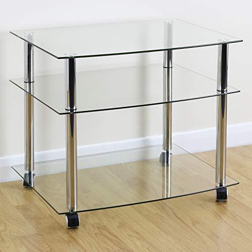 Generic H Castor Wheelstrolley/unità W TV stand/trolley/unità mobile cromato ripiano in vetro...