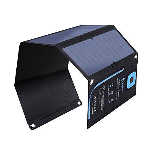 28W Cargador Solar Portátil, BigBlue 2 Puertos USB y 4 Paneles Solares Impermeables con LCD Amperímetro Digital y Cremallera de Protección para Dispositivos USB Recargables, iPhone, Android, GoPro Etc (21,5% - 23,5% de Conversión de Energía Solar)