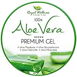 Royal Wellness - Aloe Vera Premium Gel für Männer und Frauen 300 ml - Exzellente 100 % Aloe Vera Creme mit After Sun Pflege gegen trockene Haut - XXL Tagespflege - Hautpflege - Hautgel ohne Mineralöl, ohne Parabene, ohne Farbstoffe und Benzophenone auch für den Körper geeignet - Hilft bei Sonnenbrand