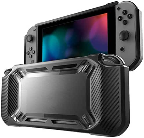 Cyond für Nintendo Silikonhülle Tasche Schutzhülle Ultradünne Hartschalenetui Bumper Anti-Scratch TPU Cover Case + 2 Thumb-Stick-Kappen + 1 Displayschutzfolie für Nintendo Switch