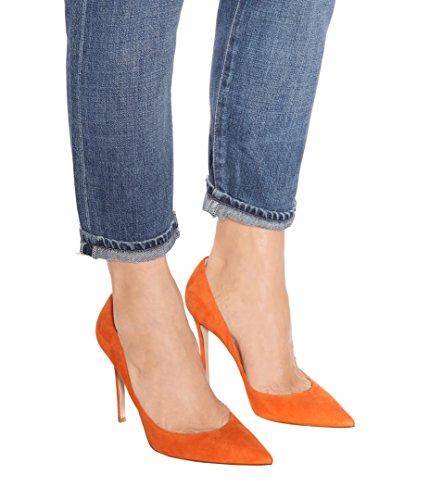 l'atteggiamento migliore 9a9fb 7b60a EDEFS - Scarpe col Tacco Donna - Elegante High Heels 10 CM - Tacco a Spillo  - Chiuse Davanti Scarpe - Arancione - Taglia EU37