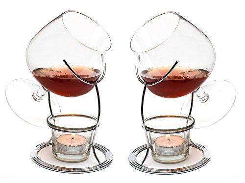CKB Ltd–Set di 2Bicchieri da Brandy & Cognac Snifter Warmer Supporto Set Regalo con tealight Candle & Crome Holder–Premium Drinking Doppia Confezione Set