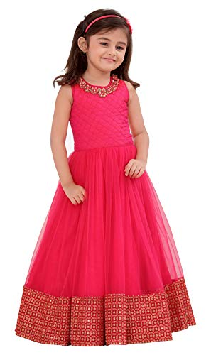 White Button Pink Form with Golden Embroidery Lace Party wear Gown Dress for Girls (2-3 Years)