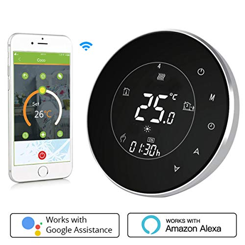 Thermostat WiFi pour chaudière gaz/eau,Thermostat intelligent Écran LCD Bouton tactile Rétro-éclairé programmable avec Alexa Google Home(NO google assistant) and Phone APP-White APP-Rond/Noir
