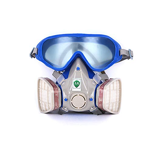 KKmoon Silicone Full Face Gas Mask Respirator Anti-particulate Anti-dust Mask Paint Chemical Pesticide Mask with Goggles