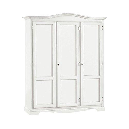 InHouse srls Armadio con 3 ante, arte povera, in legno massello e mdf con rifinitura in bianco opaco...