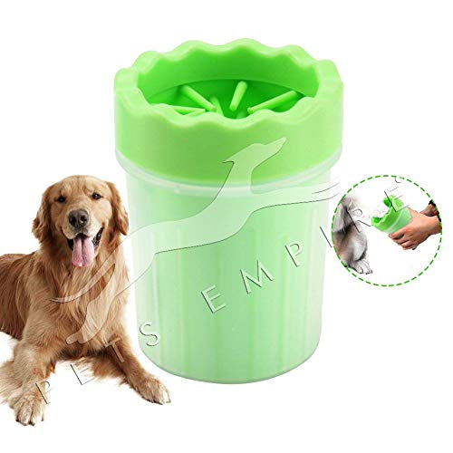 Pets Empire Dog Paw Cleaner, Portable Washer Cleaning Brush Cup for Wash Away Sediment (Medium, Green)