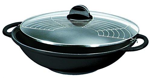 Silit Tao Set wok in ghisa, diametro: 30 cm, con coperchio in vetro, griglia per cottura a vapore,...