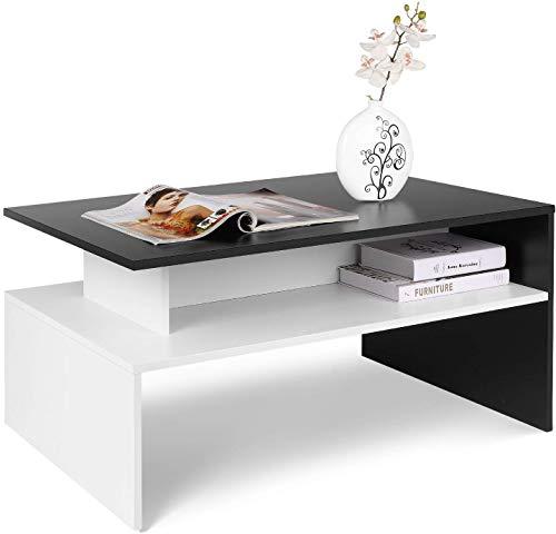 Homfa Tavolo Salotto da caffè Tavola Salotto in Legno, Tavolino con Colore della Nero e Bianco con 3 pieni di Spazio, Disegno Elegante e Moderno e Funzionale del Soggiorno 90×50×43cm