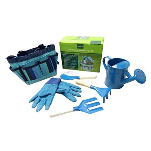 OUNONA - Juego de herramientas de jardinería, para niños, con guantes de jardín, bolsa de herramientas tipo tote (azul)