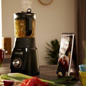 Philips HR2099/90 Blender Avance chauffant, bol en verre double paroi, noir, 1100W, 1,5L