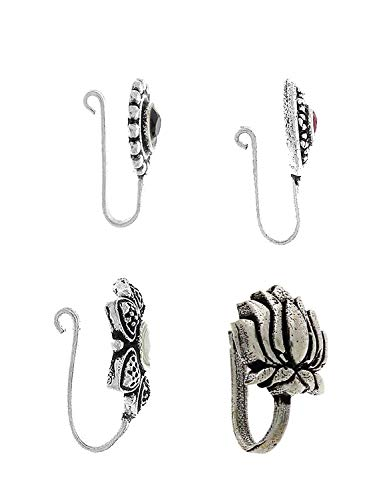 Anuradha Art Silver Oxidised Flower Styled Multi Colour Press On Combo Pack Nose Ring/Nose Stud/Pin for Women/Girls 3