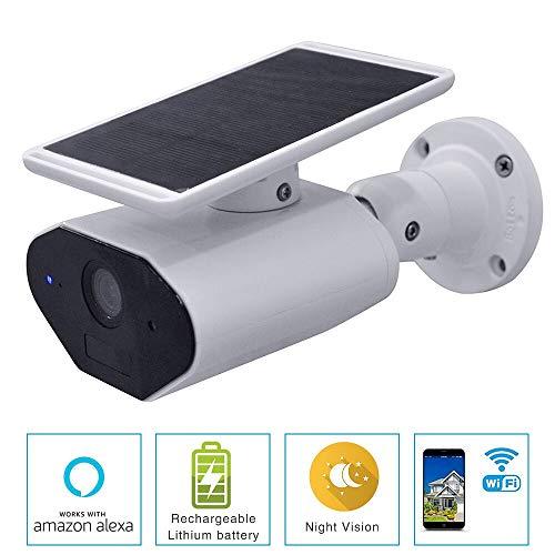 Senza fili Pannello Solare Telecamera Sicurezza Ricaricabile a Batteria Videocamera WiFi di sorveglianza esterna impermeabile 1080P, Versione notturna, Remoto SmartPhone Compatibile con Amazon Alexa