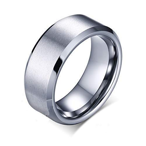 Action Pro Titanium Stainless Steel Matte Finish Collection Cool Ring for Unisex (Silver, 9)