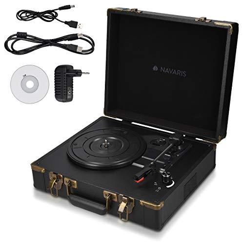 Navaris Retro Koffer Plattenspieler mit Lautsprecher - USB Port zum Digitalisieren - 35,5x11,5x27,5cm - Vintage Schallplatten Spieler Schwarz-Schwarz