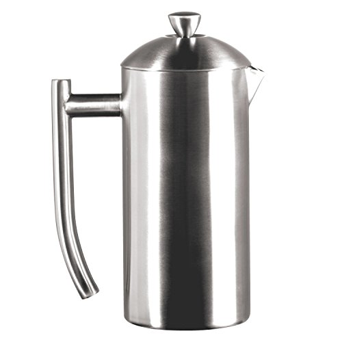 Frieling Usa Double Wall Stainless Steel French Press Coffee Maker With Patented Dual Screen, Brushed, 17-Ounce
