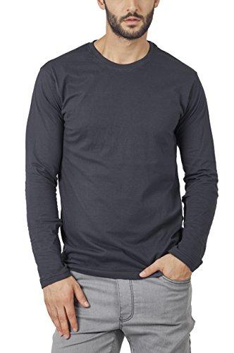 Bewakoof Stone Grey Plain Mens Round Neck Full Sleeve T Shirts