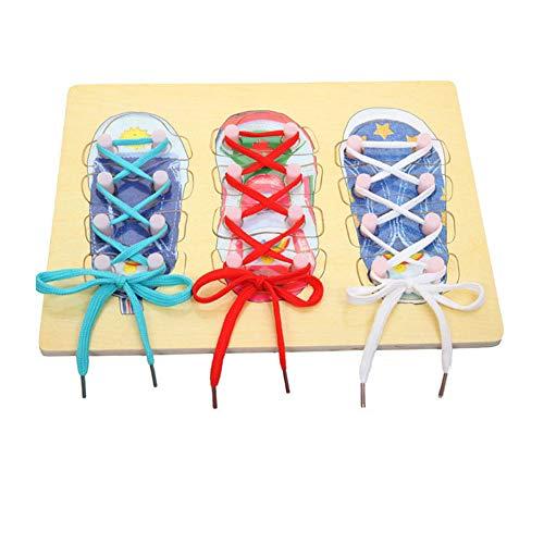 Scarpa stringata Toy Set Diy Pizzo Pizzo scarpe Legato Stringa di legno Puzzle pensione per bambini...