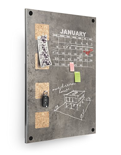 Securit-58x 38cm vita da parete in sughero/lavagna con superficie scrivibile, colore: grigio