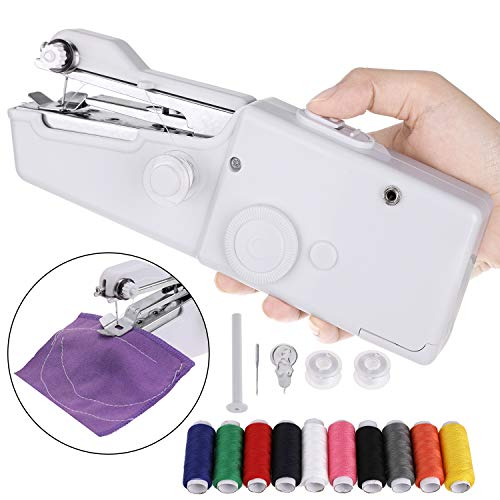 Faburo Macchina da Cucire Portatile con 10 PCS Bobine di Filo,Mini DIY Elettrica Handheld Cordless...