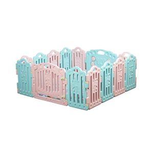 LIUFS-Valla Game Fence Centro De Actividades De Seguridad Valla para Niños Recinto Hogar Negocio Interior Y Exterior (Color : Pink+Green, Tamaño : 16 Pieces (1.55 * 1.92 m))
