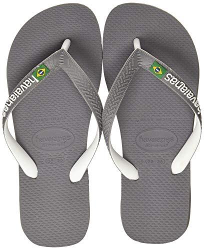 Havaianas Brasil Mix, Infradito Unisex Adulto, Multicolore (Steel Grey/White/White), 41/42 EU