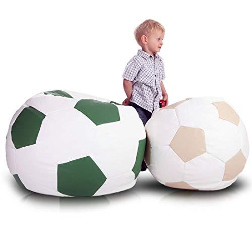 Ecopuf Football S - Pouf Poltrona Sacco Pallone Palla da Calcio Puff in Ecopelle 35 X 55 Doppie Cuciture Rinforzate PUF Imbottito con Perle di POLISTIROLO Colore Avorio E2