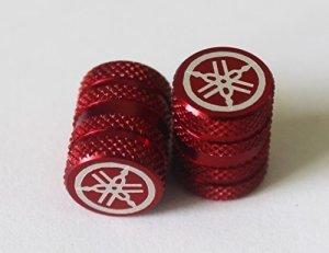 2er Set GENUINE Yamaha Stimmgabel Gerändelt ROT Reifen Ventilkappen Staubkappen Protektoren für Motorräder, Fahrräder, ATV , Auto , Van 6