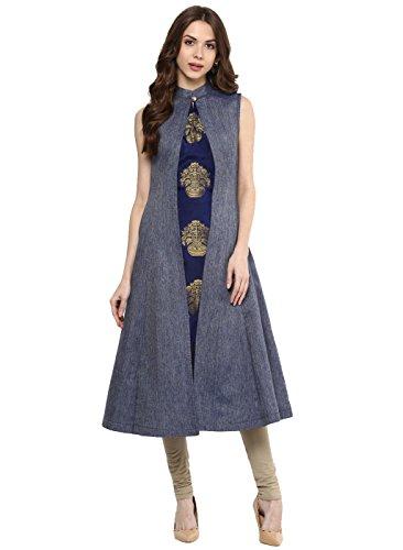 Aahwan Women's A-line Blue Kurti (X-Large)