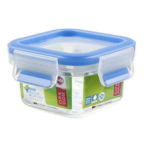 Emsa Clip&Close – Conservador Hermético de Plástico Cuadrado , higiénico, no retiene olores ni sabores 100% libre de BPA