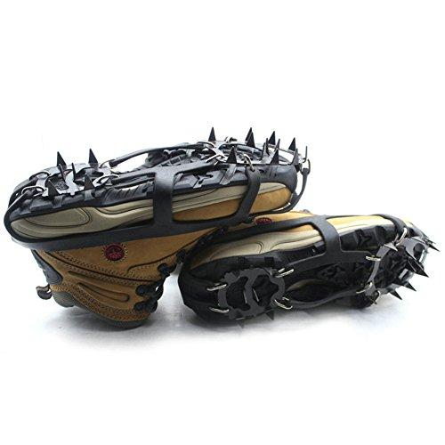 Kottle Crampones universales 18 dientes acero hielo Grips antideslizante nieve y hielo tracción tacos zapato cadenas seguro protegen zapatos 2