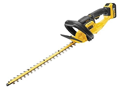 The DEWALT DCM563P1-GB 18V XR Cordless Hedge Trimmer is our second best unit. We really liked its long blade measuring 52cm with 19mm spacing so you will be able to handle sizeable hedges. The unit is brightly coloured and comes with its own battery and charger. The Dewalt unit is well designed to perform optimally with a running time of about 75 minutes. If you need a complete unit then the DEWALT DCM563P1-GB 18V XR Cordless Hedge Trimmer works perfectly.