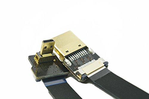 Long Slim HDMI micro HDMI 90gradi FPV piatto sottile cavo HDMI micro HDMI 90gradi a standard HDMI Full HDMI normale HDMI per GoPro Sony A7RII A7SII A9A6500A6300(non per Sony A6000) nero 80cm