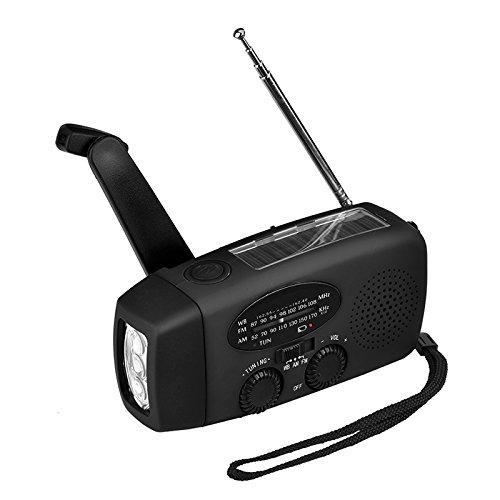 BEESCLOVER Multi-Function Portable Mini Radio Emergency Hand Crank Self Powered AM/FM Solar Weather Radio with LED FlashlightBlack