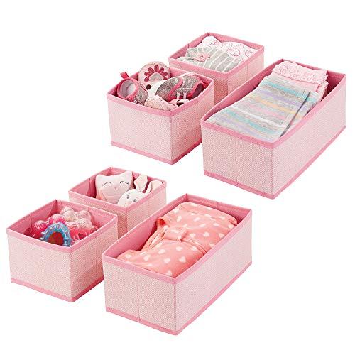 mDesign set da 6 scatole per armadio ? comode scatole portaoggetti e organizer in tessuto ideale per...