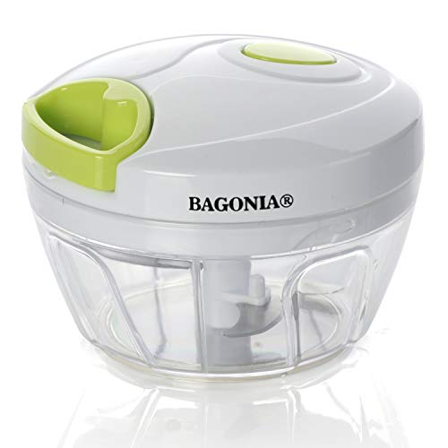 Bagonia Plastic and Steel BPA-free Food Processor with Removable Blades, 3 Cups (Green and White)