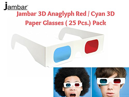 Jambar Red & Anaglyph 3D Paper Glasses ( 25 Pcs.Pack ) Red & Blue Glasses for TV / Computer / Projector/ Magazine