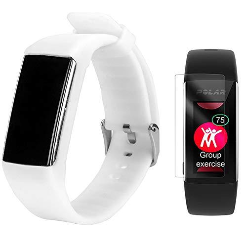 TUSITA Cinturino per Polar A360 A370 - Sostituzione Silicone Fascia con Pellicola - Accessori GPS Smart Watch (Bianca)