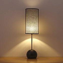 Elegante lámpara de mesa decorativa: lámparas de mesa minimalistas con base de metal redonda y pantalla de tela negra, lámpara de mesita de noche para dormitorio, oficina negro