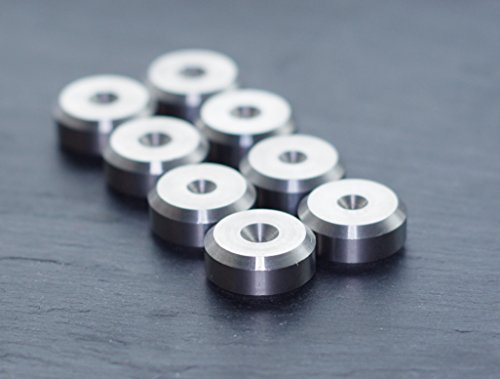 CNC Solid Stainless Steel Speaker spike pads shoes feet 16mm DIA - Set of 8 pieces Made in BRITAIN