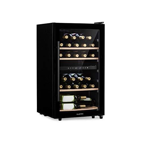KLARSTEIN Barossa 34D • Cantinetta Vino con Porta in Vetro • Refrigeratore Vino • 2 Zone •...