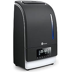 Humidificador Ultrasónico 6L TaoTronics (Vapor CALIENTE/ FRÍO adjustable, Modo de Sueño, Temporizador, Autopagamiento al nivel bajo de agua, Control táctil, Panel LED) 130W, Warm/ Cool Mist
