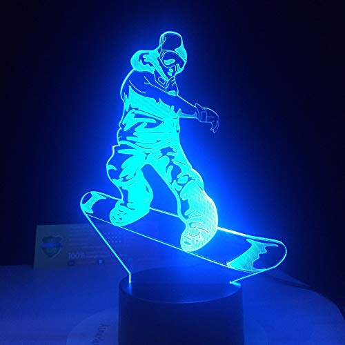 Lampada da snowboard a LED 7 Cambiando colori Lampada da tavolo 3D Illusion Lampada da tavolo in...