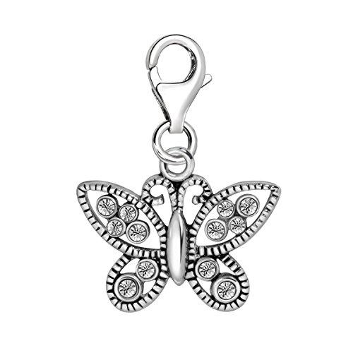 Quiges Charm con Cierre Colgante Mariposa con Alas de Circonita de Plata de Ley 925 Mujer para Pulseras Europeas