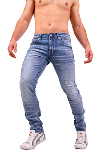 Instinct Jeans Uomo Classici Slim Regular Ripped Fit - Vari Modelli (32/46, Blu (Ocean 8825))