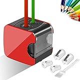 Meerveil Anspitzer, Elektrischer Anspitzer USB- und Batteriebetrieb, Vollautomatischer Bleistiftspitzer mit 2 Löcher von Verschiedenen Größe, Sicher für Kinder, Rot
